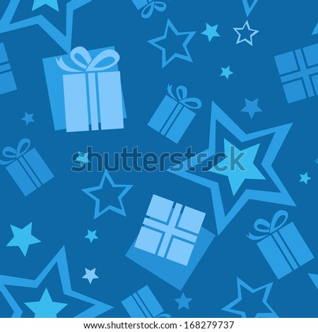 Seamless blue gift pattern - stock vector