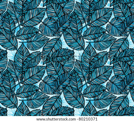 seamless blue leaf pattern - stock vector