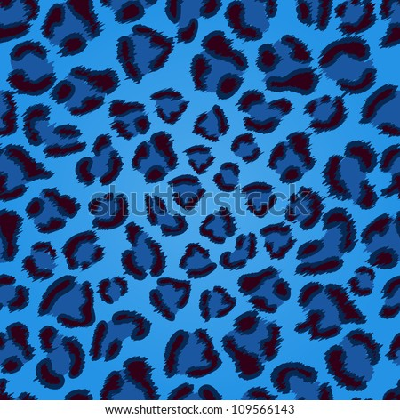 Seamless blue leopard texture pattern. EPS 8 vector illustration. - stock vector