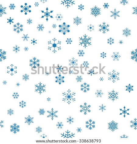 seamless blue snowflakes on white background for christmas, new year - stock vector