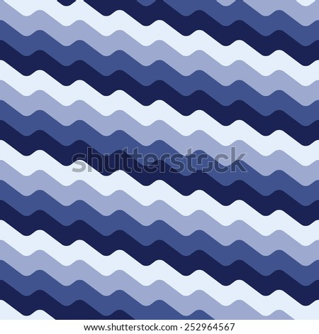 Seamless blue wavy pattern - stock vector