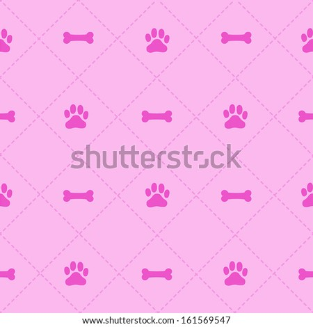 Seamless Bone & Paw Pattern - stock vector