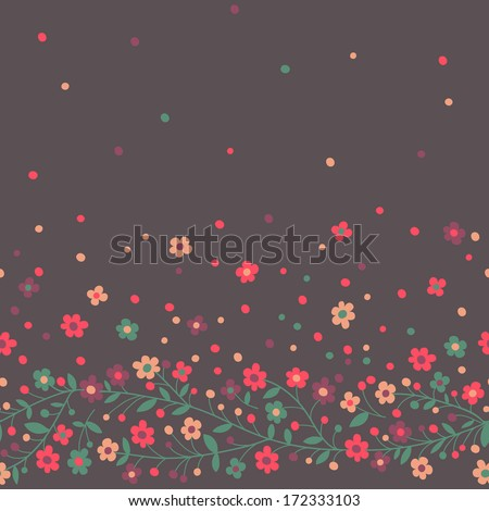 Seamless border of flowering branches. Vector illustration. - stock vector