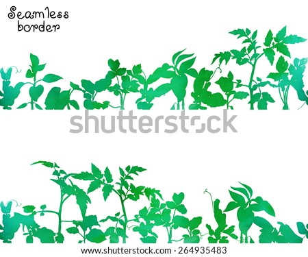 Seamless border with green watercolor silhouettes of various seedlings and garden plants. Vector design, seamless each other and together. - stock vector