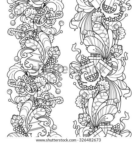 Seamless borders vector set in doodle style. Floral, ornate, decorative, tribal, Christmas design elements. Black and white background. Christmas tree, gift box, balls. Zentangle coloring book page - stock vector