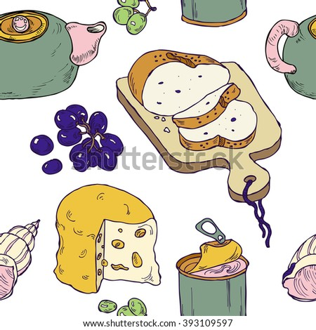 Seamless breakfast pattern with hand drawn tea, bread, cheese, pate and grapes in vector - stock vector