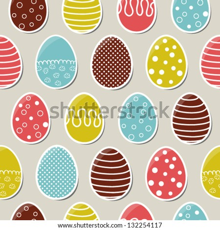 Seamless bright easter pattern with colorful eggs - stock vector