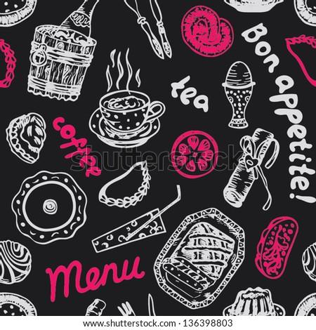 Seamless bright food pattern on grey blackboard in vector - stock vector