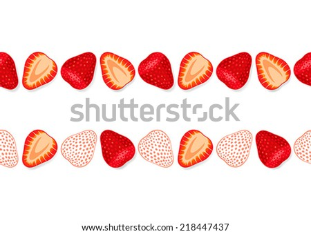 Seamless bright ornament with slices of fresh strawberries - stock vector