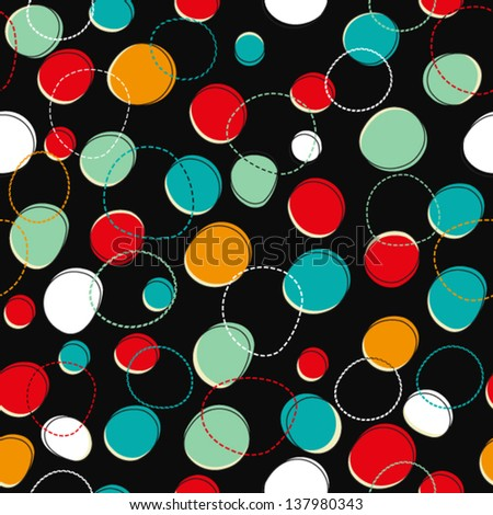 Seamless bright pattern with circles - stock vector