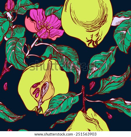 Seamless bright pattern with garden on dark background in vector - stock vector