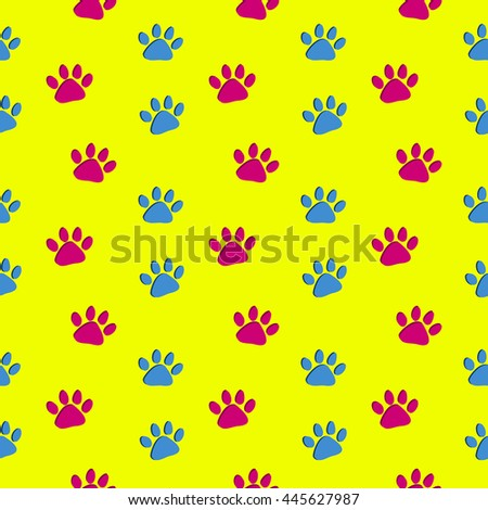 Seamless Bright Yellow Paw Print Pattern - Pink and blue dog paw prints, on a bright yellow background, colorful seamless vector pattern. - stock vector