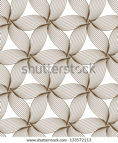 seamless brown abstract line floral pattern background - stock vector