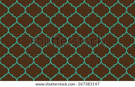 Seamless brown and blue wide moroccan pattern vector - stock vector