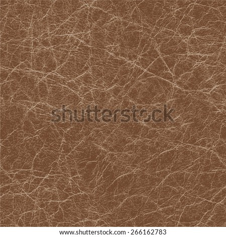Seamless brown natural leather texture, detalised vector background - stock vector