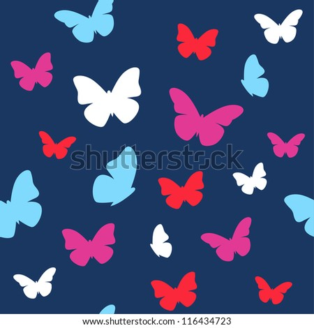 Seamless butterfly pattern in bright colors. Vector illustration - stock vector