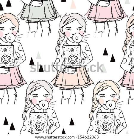 Seamless camera illustration hipster photography girl blogger background pattern in vector - stock vector