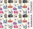 seamless camera pattern - stock vector