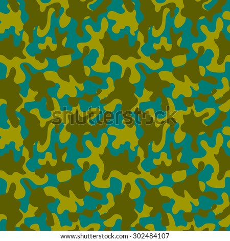 Seamless camouflage pattern. Abstract vector background. Green, khaki, blue. - stock vector