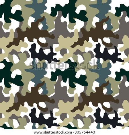 Seamless camouflage pattern. Military textile collection. Abstract vector background. Grey, green, brown on white. Backgrounds & textures shop. - stock vector