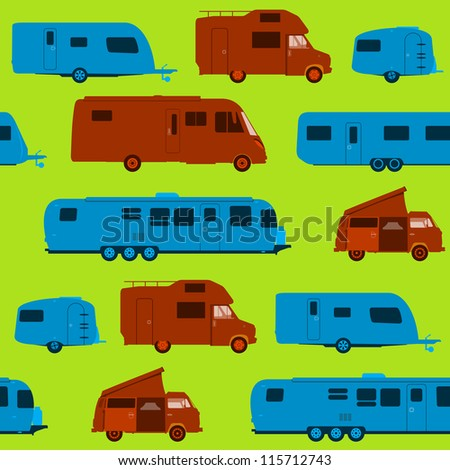 Seamless Caravan Pattern - Green Brown and Blue Silhouette Vacation Pattern on light background - stock vector