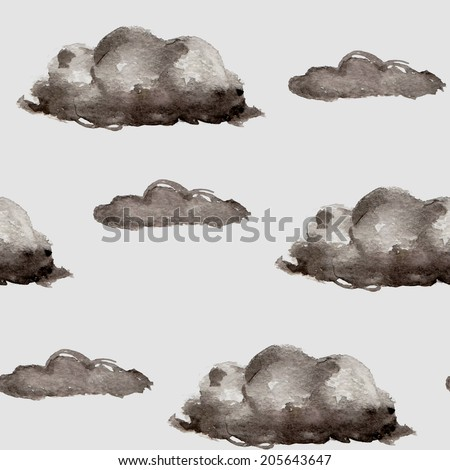 Seamless cartoon background with rain clouds on a gray sky. Watercolor style. - stock vector