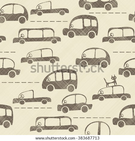 seamless cartoon map of cars and traffic on texture background - stock vector