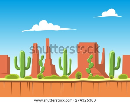 Seamless cartoon nature landscape, unending background with soil, bushes, mountains and cloudy sky layers - stock vector
