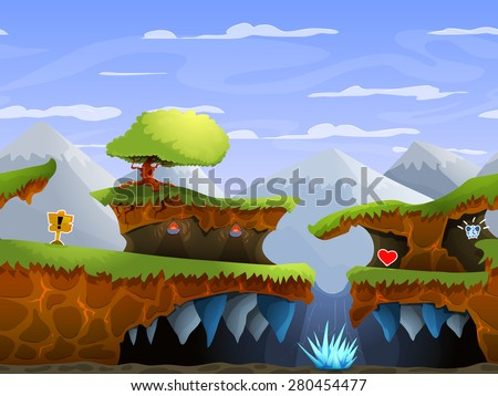 Seamless cartoon nature landscape, vector unending background with ground, , mountains and sky layers. - stock vector