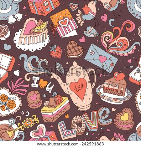 """Seamless cartoon vector pattern for Valentine's Day. Hearts, """"Love"""" lettering, cakes, birds, cards and other romantic elements on a brown background. - stock vector"""