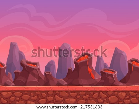 Seamless cartoon volcano landscape, vector endless background with ground, volcanoes, rocks, clouds and sky layers - stock vector