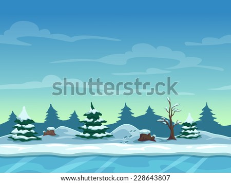 Seamless cartoon winter landscape, unending background with ice, snow hills and cloudy sky layers - stock vector