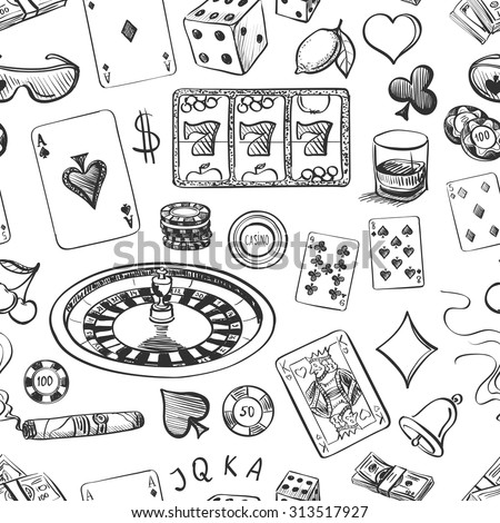 Seamless casino hand drawn pattern with roulette, cards, cigar, whisky, casino chip, jack pot, dice, money - stock vector