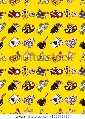 seamless Casino pattern,cartoon vector illustration - stock vector