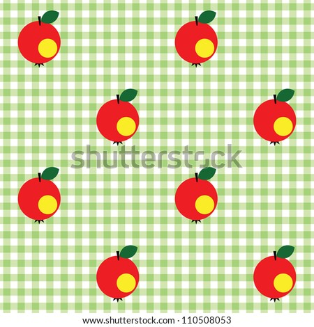 Seamless checked green and white pattern with apples. - stock vector