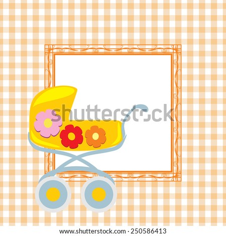 Seamless checkered background with ornamental frame and stylized pram. Vector - stock vector