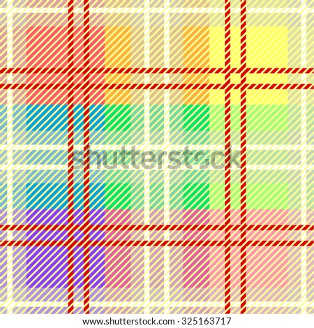 Seamless checkered multicolored vector pattern. Retro textile design collection. Red and white stripes. Backgrounds & textures shop. - stock vector