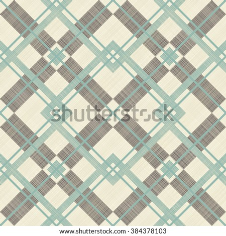 seamless checkered pattern in turquoise, brown and beige on texture background - stock vector
