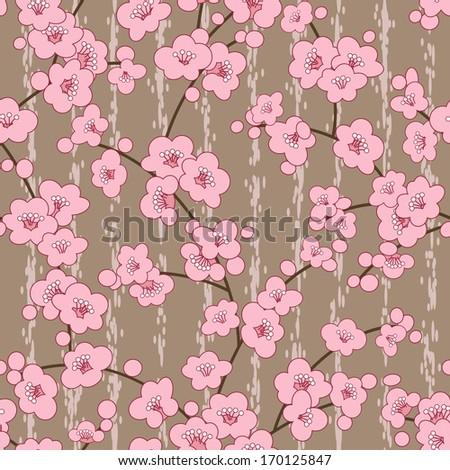 seamless cherry, sakura blossom flowers pattern - stock vector