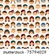 seamless child face pattern - stock vector