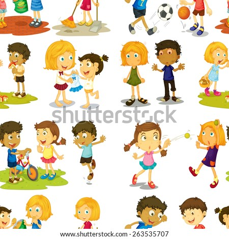 Seamless children in different actions - stock vector
