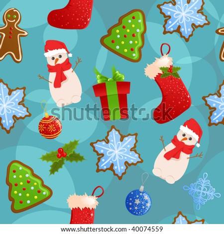 Seamless Christmas background - stock vector