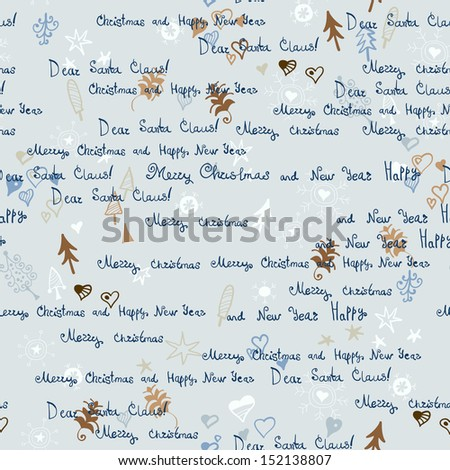 seamless Christmas background. Merry Christmas wallpaper.Seamless  handwritten text pattern with Christmas elements - stock vector