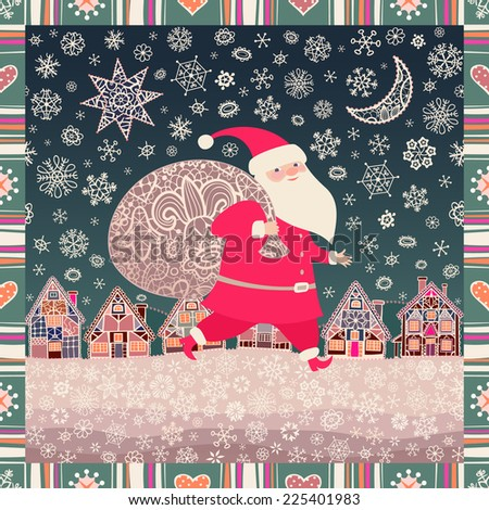 Seamless Christmas background. Santa Claus with a sack of Christmas gifts. Little town, lacy Xmas star, moon, and snowflakes. Vector illustration - stock vector
