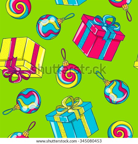 Seamless Christmas background with balls and gifts - stock vector
