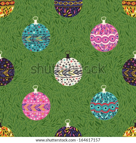 Seamless Christmas background with christmas balls. Vintage christmas seamless pattern. Childish background. Elements for scrap-booking - stock vector
