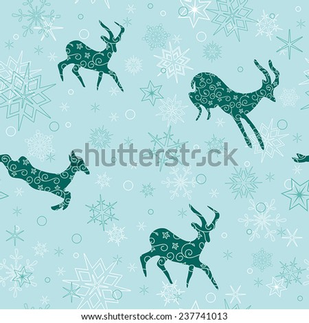 seamless christmas background with emerald goats - vector - stock vector