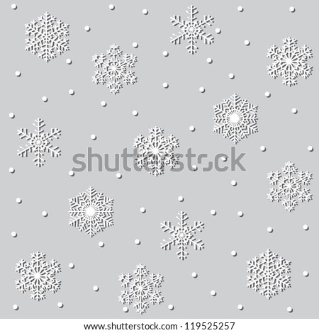 Seamless christmas gray background with paper snowflakes - stock vector