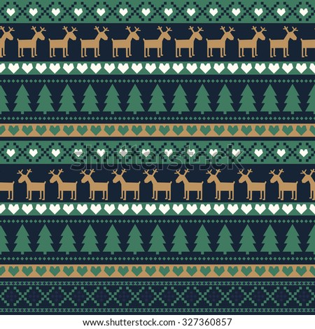 Seamless Christmas pattern, card - Scandinavian sweater style. Simple Christmas background - Xmas trees, deers, hearts and snowflakes. Happy New Year background. Vector design for winter holidays. - stock vector