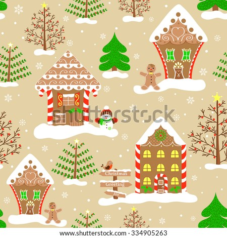Seamless christmas pattern, endless background of christmas town. Vector illustration of gingerbread house, ginger man, snowman, christmas tree and other decoration. Winter holiday design, doodle art - stock vector